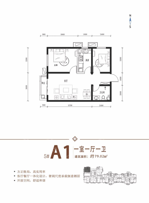 5#A11室1厅1卫79.02㎡